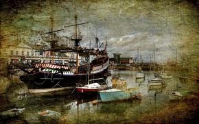 Картинка город, стиль, река, фон, корабли