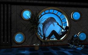 Картинка вода, девушка, дельфин, пальма, рендеринг, комната, окно, иллюминатор, под водой