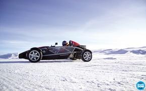 Картинка небо, снег, шлем, пилот, суперкар, ariel, вид сбоку, top gear, каркас, высшая передача, топ гир, …