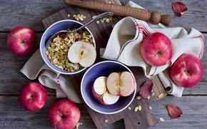Обои гранола, фрукты, еда, завтрак, тарелки, яблоки