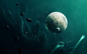 Картинка космос, планета, астероиды, бомбардировка