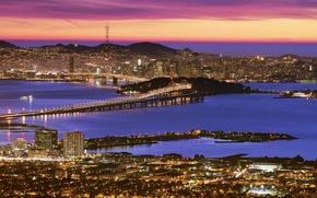 Картинка Закат, San-Francisco, Oakland_Bay_Bridge, Иллюминация, Twin_Peaks