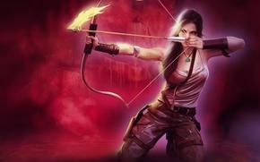 Картинка взгляд, девушка, лицо, оружие, фон, огонь, волосы, майка, лук, арт, стрела, Tomb Raider, целится, хвостик, …