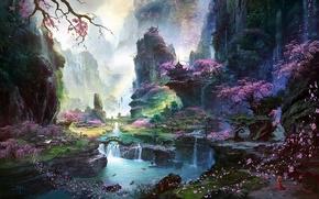 Картинка девушка, деревья, пейзаж, горы, река, скалы, азия, водопад, лепестки, сакура, арт, храм