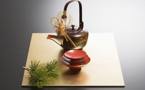 Обои Япония, чайник, чаепитие, чашка, сосна, блюдце, чайная церемония, пиала