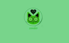Обои кот, зеленый, обои, зомби