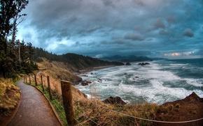 Обои море, пляж, небо, деревья, океан, забор, волна, дорожка, прибой