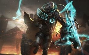 Обои костюм, броня, шлем, разведчик, фантастика, взрыв