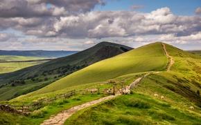 Обои лето, небо, облака, холмы, забор, овцы, англия