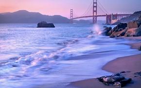 Картинка пейзаж, мост, пролив, камни, сиреневый, берег, вечер, Калифорния, Сан-Франциско, Золотые Ворота, USA, США, Golden Gate …