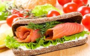 Обои рыба, хлеб, бутерброд, помидоры, fish, bread, tomatoes, Fast food