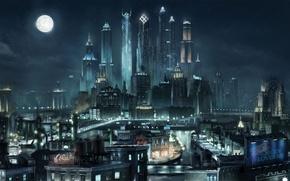 Картинка ночь, город, луна, здания, небоскребы, высотки, Saints Row the Third