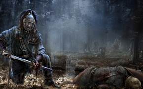 Картинка Total War, wood, background, video games, Total War: Rome 2, dead legionnaires, Pict warrior, Rome …