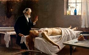 Обои картина, Anatomía del corazón, Вскрытие, испанский художник, У неё было сердце, Анатомия сердца, Enrique Simonet ...