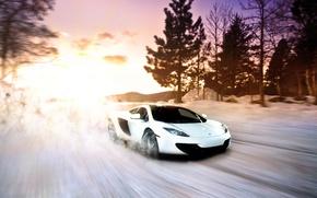 Картинка McLaren, Winter, Sunset, MP4-12C, Snow, White, exotic, Supercar, fast, sportscar
