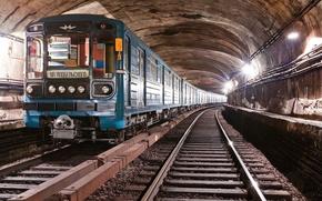Картинка рельсы, поезд, вагон, Метро, шпалы, тунель