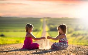 Картинка дорога, солнце, дети, девочки, простор
