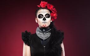 Картинка девушка, макияж, маска