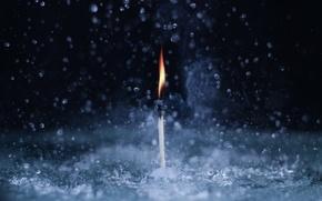 Обои вода, макро, огонь