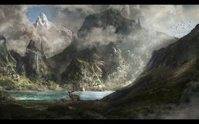 Картинка animals, landscape, mountains, lake, look, deer
