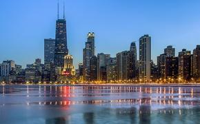 Картинка зима, город, огни, океан, небоскребы, вечер, Чикаго, Chicago