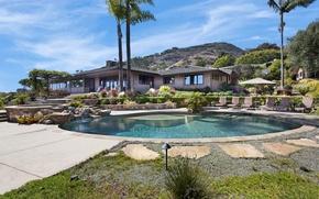 Картинка дом, камни, пальмы, вилла, бассейн, Калифорния, США, Laguna Beach