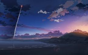 Обои макото синкай, 5 сантиметров в секунду, ракета