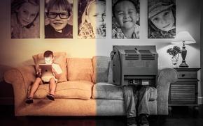 Картинка диван, телевизор, фотографии, мужчина, парень, iPad