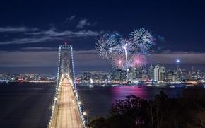 Картинка небо, облака, ночь, мост, огни, залив, фейерверк, сша, калифорния, San Francisco