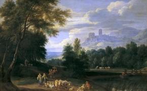 Обои Пейзаж с Пастухами, картина, животные, горы, люди, замок, башня, Адриан Франс Будевинс