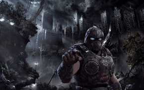 Картинка city, Microsoft, battlefield, soldier, sky, chaos, Gears of War, war, man, hand, armour, warrior, invasion, …