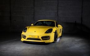 Картинка желтый, Porsche, Cayman, порше, TechArt, кайман