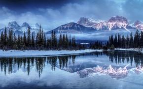 Картинка зима, лес, снег, горы, туман, озеро, елка, ель, forest, Winter, mountain, lake, snow, fog, spruce, …
