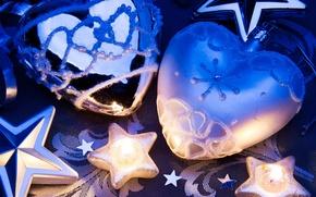 Картинка украшения, игрушки, свечи, сердечки, звёздочки