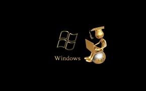Картинка человек, ноутбук, windows, сидит, глобус, магистр, чёрный фон