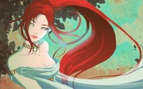 Картинка взгляд, девушка, лицо, платье, арт, украшение, красные волосы, деревья. листья