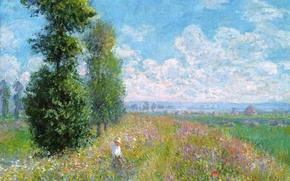 Картинка поле, небо, трава, облака, деревья, пейзаж, цветы, картина, луг, Клод Моне, копна