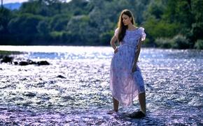 Картинка девушка, река, течение, Solya