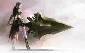 Картинка доспехи, перчатки, серый фон, длинные волосы, со спины, супер-оружие, вполоборота, женщина воин