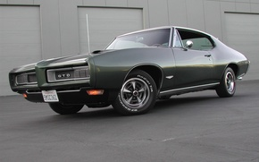 Картинка muscle car, здание, гто, тёмно зелёный, dark green, gto, 1969, pontiac, понтиак, мускул кар