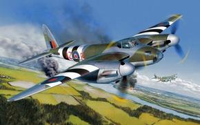 Картинка war, art, painting, aviation, ww2, De Havilland Mosquito