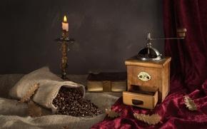 Картинка листья, кофе, свеча, зерна, книга, натюрморт, мешок, кофемолка