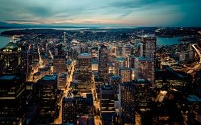 Картинка город, река, дома, вечер, Seattle Skyline