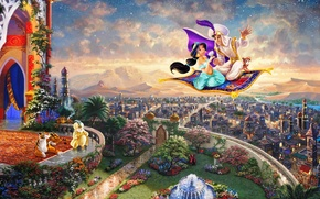 Aladdin, Thomas Kinkade STUDIOS, Walt Disney,  Thomas Kinkade, painting, живопись,  Томас Кинкейд,  Аладдин, Принцесса,  Жасмин, царство, город,  дворец, Султан, ковер-самолет, фонтан, волшебная лампа, Дисней обои