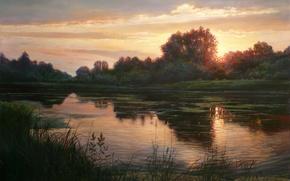 Картинка картина, отражение, свет, деревья, берег, Zbigniew Kopania, озеро, вечер, небо, травинки, пейзаж, закат
