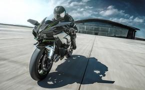 Картинка Kawasaki, moto, bike, power, motorcycle, speed, track, Ninja, H2R