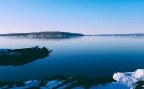 Картинка Небо, Вода, Океан, Горы, Снег