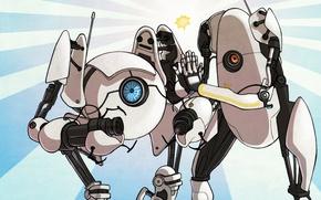 Картинка robot, Valve, Portal 2, coop, P-body, ATLAS, Co-op