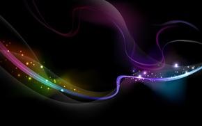 Картинка волны, линии, сияние, цвет