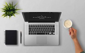 Обои блокнот, ноутбук, растение, пена, кофе, рука, чашка, вид сверху, стол, ручка